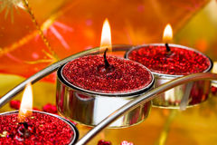 Red festive candles Stock Photos