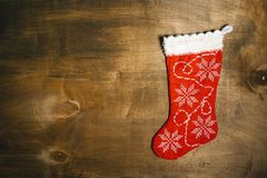 Red festive christmas stocking top view Royalty Free Stock Photos