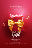Red Festive flyer or poster. Top view on gift box and bow with beautiful backdrop Royalty Free Stock Photos