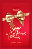 Red Festive greeting card or flyer with bow and ribbon. Vector illustration Stock Image
