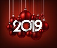 Red festive 2019 new year card with Christmas balls. Red 2019 new year background with Christmas balls. Festive shiny decoration. Greeting card. Vector royalty free illustration