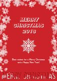 Red festive poster with a new year and a Merry Christmas. Greeting card with a snow. Flat  illustration EPS10.  Royalty Free Stock Photo