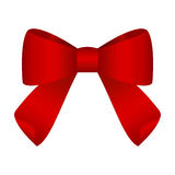 Red festive tied bow made from ribbon. Isolated on white Background Stock Photography