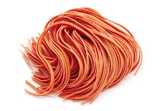 Red fettuccine pasta Royalty Free Stock Photography