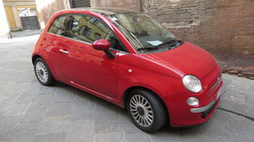 Red FIAT 500 car Stock Photography