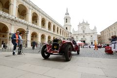 A red Fiat 514 MM. LORETO (AN), ITALY - MAY 15: A red Fiat 514 MM takes part to the 1000 Miglia classic car race on May 15, 2015 in Loreto (AN). The car was Royalty Free Stock Images