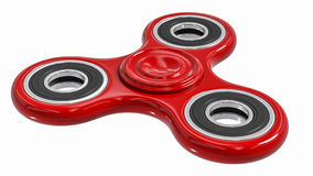 Red fidget finger spinner stress, anxiety relief toy Royalty Free Stock Image
