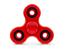 Red fidget spinner. Red hand fidget spinner toy isolated on white background - it relieves stress, three-dimensional rendering, 3D illustration Stock Photos