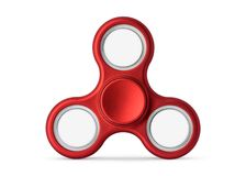 Red fidget spinner isolated on white background. Stress relieving toy.  Clipping paths or cut out object for montage  Can put. Red fidget spinner isolated on royalty free stock photography