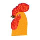 Red fiery cock Christmas symbols, decorative vector. Illustration Royalty Free Stock Photo