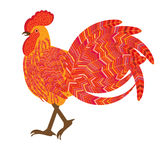 Red fiery cock Christmas symbols, decorative vector. Illustration Stock Photos
