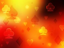 Simple pfoto background. Red fiery pattern of playing card symbols stock illustration