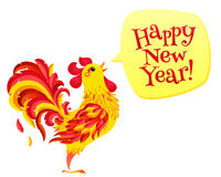 Red fiery rooster with speech bubble and Happy New Year sign. Chinese symbol of 2017 new year. Red fiery vector rooster with speech bubble and Happy New Year Stock Photography