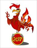 Red Fiery Rooster. The symbol of the Chinese New Year 2017 Stock Image