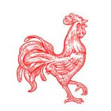 Red fiery rooster. Vintage black  engraving illustration. Red fiery rooster. Symbol Chinese 2017 new year. Vintage monochrome drawn  engraving illustration for Stock Image