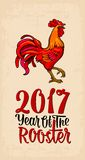 Red fiery rooster. Vintage black  engraving illustration. Red fiery rooster. Symbol Chinese 2017 new year. Vector color drawn flat illustration for poster and Royalty Free Stock Images