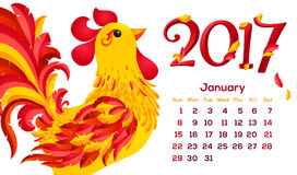 Red fiery rooster 2017 year calendar, cartoon style calendar template. Red fiery rooster vector 2017 year calendar, cartoon style calendar template Royalty Free Stock Photo