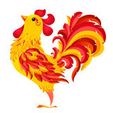 Red fiery vector rooster - symbol of 2017 New Year by Chinese calendar Stock Photos