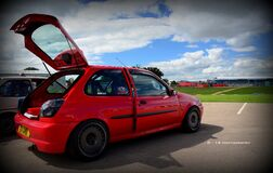 red fiesta at ford fair Stock Photo