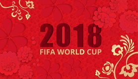Red 2018 fifa world cup football background. Red 2018 fifa world cup football background with gold floral ornament. Vector illustration Royalty Free Stock Images