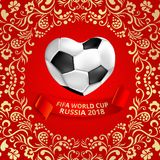 Red Fifa world cup Russia 2018 football background. Red Fifa world cup Russia 2018 football background with heart shape ball and khokhloma ornament. Vector Stock Photos