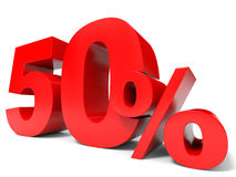 Red fifty percent off. Discount 50%. 3D illustration Stock Image