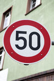 Red Fifty Speed Sign Stock Photography