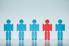 Red figure in blue human figures row individuality. Row of blue human figures and red one sticking out standing over a grey background on a glass like floor with stock illustration