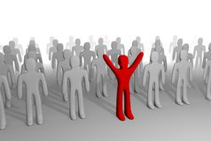 Red figure standing out of grey crowd. 3D rendering. Promotes individuality, points out different thinking, style, etc vector illustration