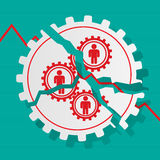 Red figures of people in gears are broken. Business concept. Ban Royalty Free Stock Photography