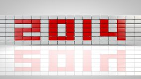 Red 2014. 2014 figures on a white background 3d Stock Photos