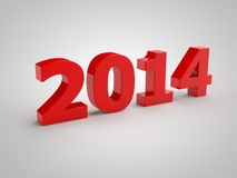 Red 2014. 2014 figures on a white background 3d Royalty Free Stock Photos