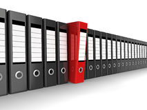 Red file. A row of files, with one red one standing out from the others Stock Images