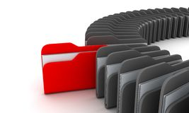 Red file. Archives document and one red file  (background, done in 3d Royalty Free Stock Image