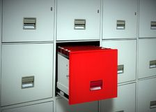 Red file cabinet Stock Photography