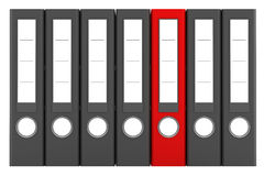 Red file folder among similar gray folders. Isolated on white background Stock Photography