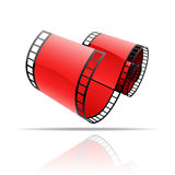 Red film reel. Isolated on white stock illustration