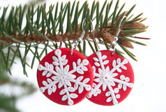Red Fimo Earrings With Snowflake Model Royalty Free Stock Photo