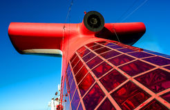 Red fin on cruise ship Stock Photography