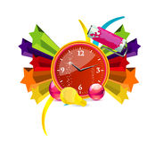 Red finance clock sign on the colored stars Stock Image