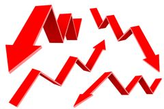 Red financial up and down moving arrows. Rising and falling trends. Vector 3d illustration isolated on white background Royalty Free Stock Photography