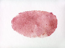 Red finger print. Made with shinny nail polish Royalty Free Stock Photos
