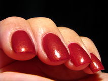 Red Fingernails Stock Photos