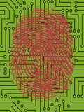 Red FingerPrint on Circuit Board Royalty Free Stock Images