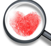 Red fingerprint in heart shape Royalty Free Stock Images