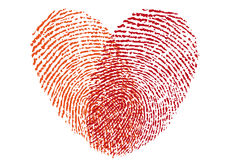 Red fingerprint heart, vector. Design element for wedding invitation, cards Royalty Free Stock Images
