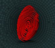 Red fingerprint scanner. 3D illustration. Illustration of Red fingerprint scanner. 3D illustration Stock Photography