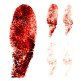 Red fingers print on white background. 
