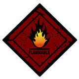 Red fire advertisment. Caution fire sign Royalty Free Stock Image