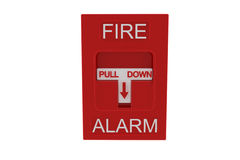 Red fire alarm. On white background Royalty Free Stock Photo